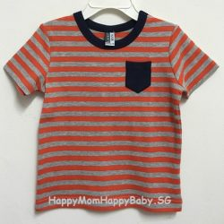 Tee Navy Pocket Strips Orange