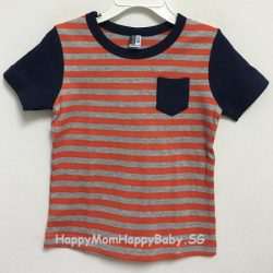 Tee Navy Sleeves with Pocket - Strips Orange