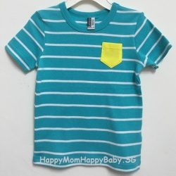 Tee Yellow Pocket Strips Blue