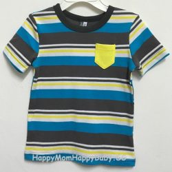 Tee Yellow Pocket Strips Multi Color